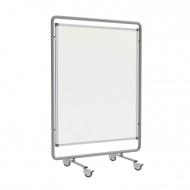 Fahrbare Trennwand, Höhe 190 cm, 120x150 cm, Tafelfläche Stahlemaille weiß