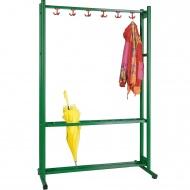 Garderobenständer, feststehend, Höhe 190 cm, 120 cm breit, 6 Dreifachhaken,