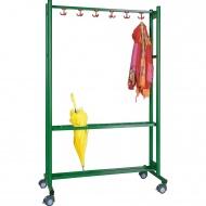 Garderobenständer, fahrbar, Höhe 190 cm, 180 cm breit, 9 Dreifachhaken,