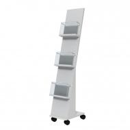Prospektständer fahrbar, 135 cm hoch, 25x35 cm (B/T),  3 Ablagen,