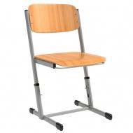 Schülerstuhl, vorn abgerundete Sitzfläche, H-Fuß, höhenverstellbar von 34-42 cm,