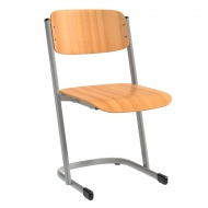 Schülerstuhl, vorn abgerundete Sitzfläche, U-Fuß,