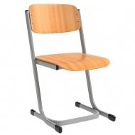 Schülerstuhl, vorn abgerundete Sitzfläche, Doppel-U-Fuß, verstärkter Sitzträger,