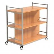 Bücherwagen,  90 cm hoch, 90x50 cm (B/T), doppelseitig nutzbar, jeweils 25 cm tief