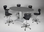 Bürotisch, 200x120 cm (B/T), elektrisch höhenverstellbar 80-130 cm, oval,