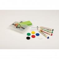 Whiteboard-Zubehör-Box, 1 Trockenwischer, 4 Whiteboard-Markern, 6 Magneten,