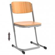 Schülerstuhl, geschlossener Sitzträger, Doppel-U-Fuß, höhenverstellbar von 30-38 cm,