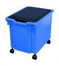 Aufbewahrungsbox 30 cm hoch, mit Rollen (ohne Deckel), blau,