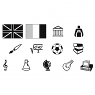 Symbolbogen, auf selbstklebender Klarsichtfolie, mit 975 Symbolen, schwarz,