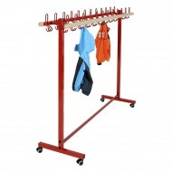 Garderobenständer, fahrbar, 150 cm breit, 36 Haken,