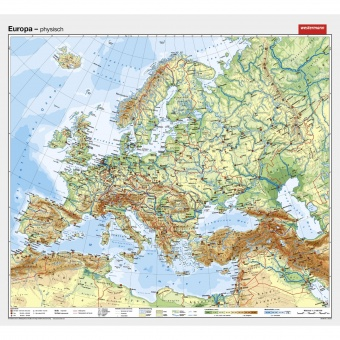 Wandkarte Europa Physisch 202x185cm Erstling De Gunstig