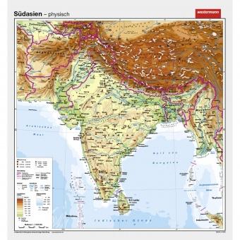 Südasien Karte.Wandkarte Südasien Phys Vorderseite Polit Rückseite 147x157cm