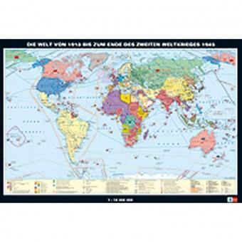 Wandkarte Die Welt von 1919 bis zum Ende des 2. Weltkriegs 1945, 188 x 127 cm,