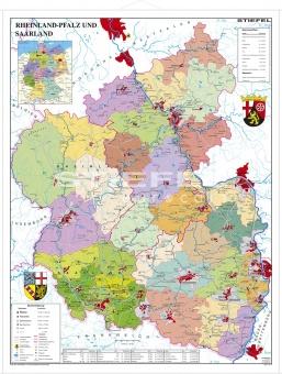 Wandkarte Rheinland Pfalz Saarland Politisch 120x160 Cm