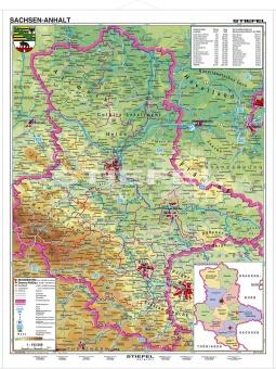 Karte Sachsen Anhalt.Wandkarte Sachsen Anhalt Physisch 120x160 Cm Erstling De
