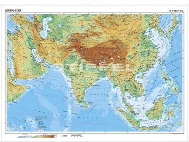 Südasien Karte.Wandkarte Südasien Phys Vorderseite Polit Rückseite 160x120
