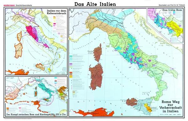 Wandkarte Das Alte Italien, 205 x 135 cm,