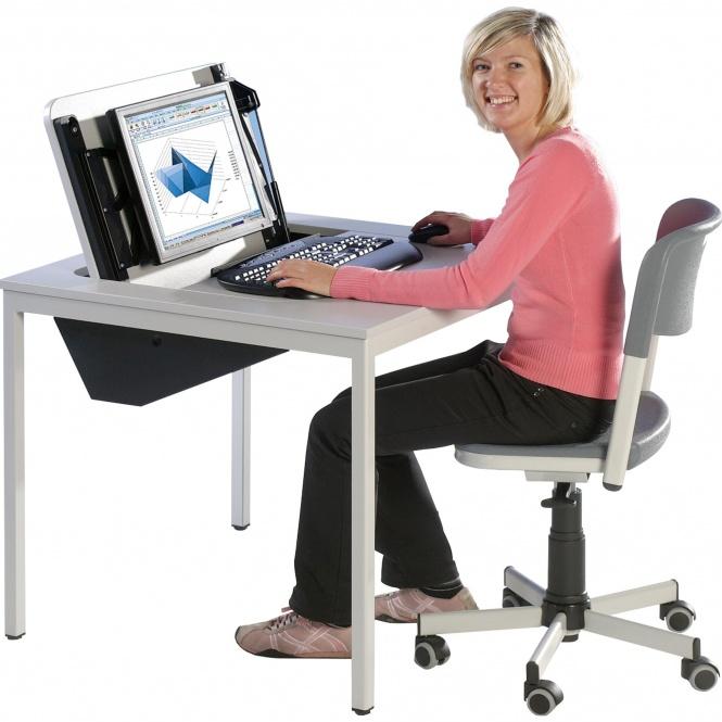 edv tisch 100x80 cm b t 72 cm hoch versenkbare monitorplatte ohne pc halterung erstling. Black Bedroom Furniture Sets. Home Design Ideas