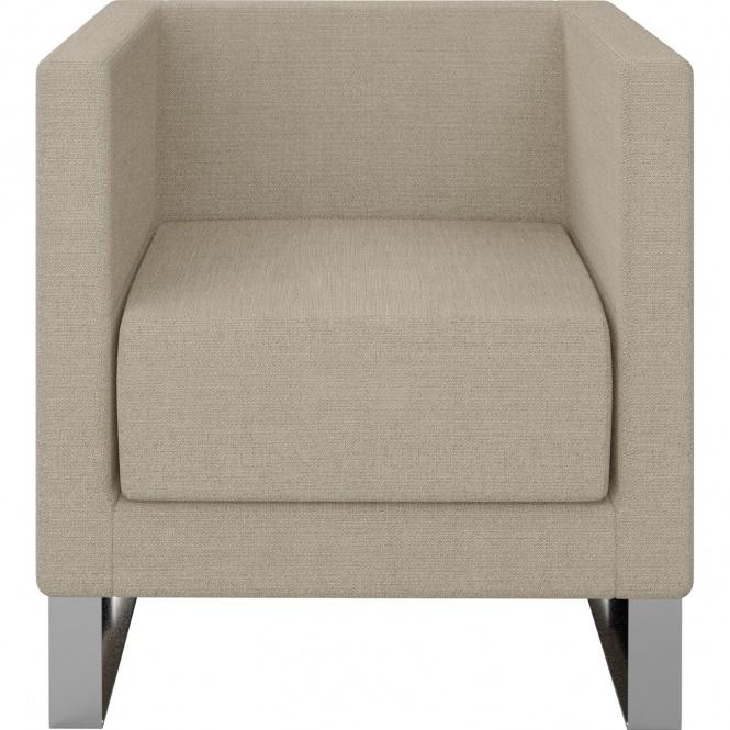 Sessel, 1-Sitzer, 70x68 cm (B/T), Kufengestell - Weiß-Alu,