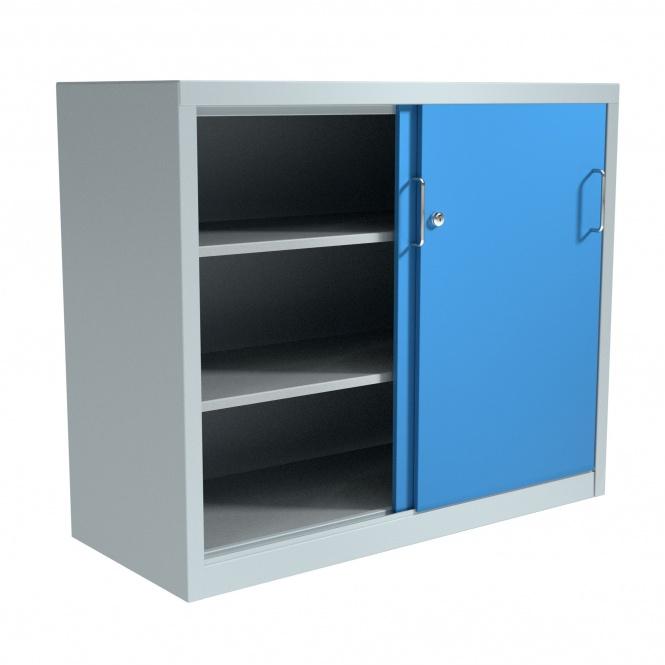 stahl schiebet ren schrank 100 cm hoch 120x40 cm bxt 2 b den g nstig. Black Bedroom Furniture Sets. Home Design Ideas