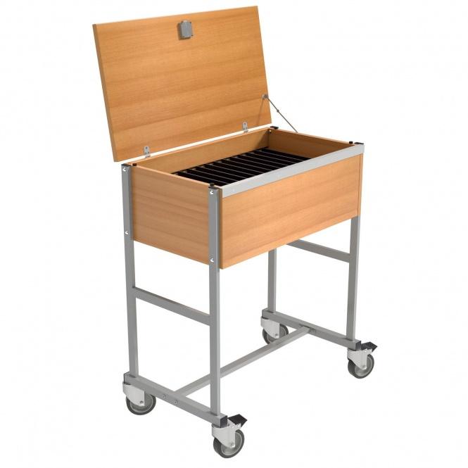 klassenbuchwagen f r 16 klassenb cher mit deckel ohne schlitze g nstig online. Black Bedroom Furniture Sets. Home Design Ideas